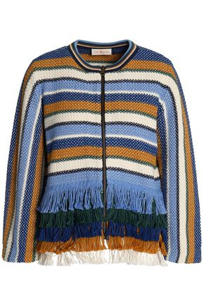 TORY BURCH Frayed-trimmed striped cotton jacket