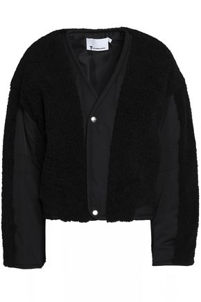 T by ALEXANDER WANG Shearling-paneled shell bomber jacket