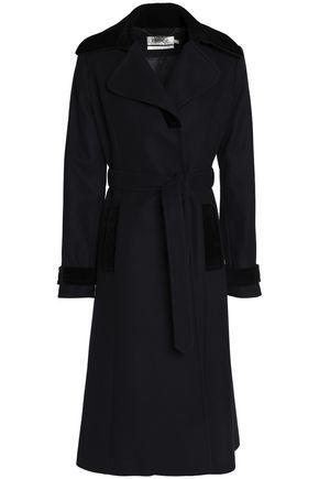 GOAT Belted velvet-trimmed wool-blend coat