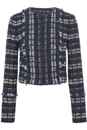 PROENZA SCHOULER Frayed leather-trimmed bouclé-tweed jacket