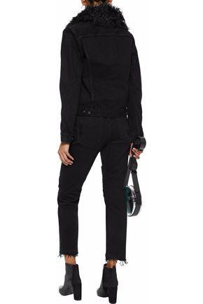 DEREK LAM 10 CROSBY Shearling-trimmed denim jacket