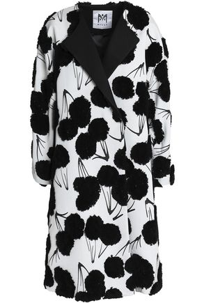 MILLY Double-breasted fil coupé jacquard coat