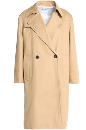 SANDRO Double-breasted cotton-gabardine coat