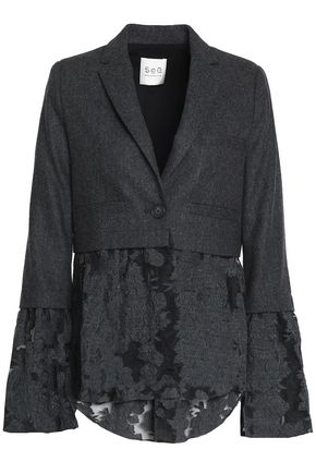 SEA Embroidered organza-paneled herringbone wool jacket