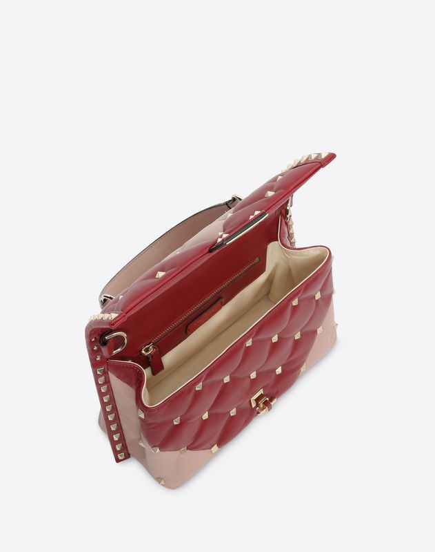 Medium V inlay Candystud top-handle bag