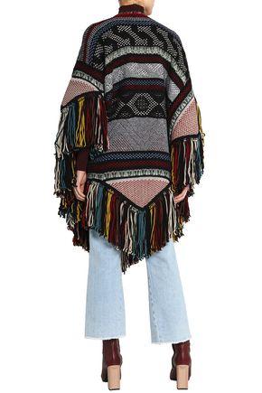 CHLOÉ Fringe-trimmed wool-blend jacquard poncho