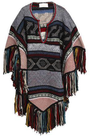 CHLOÉ Fringe-trimmed jacquard-knit poncho