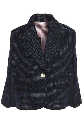 THOM BROWNE Fringe-trimmed wool-blend tweed jacket