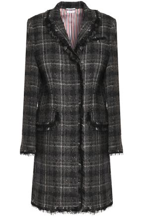 THOM BROWNE Fringe-trimmed checked wool-blend bouclé coat