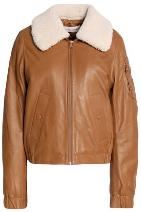 SEE BY CHLOÉ Shearling-trimmed leather jacket