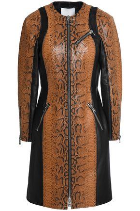 3.1 PHILLIP LIM Paneled snake-effect leather coat