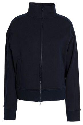 VINCE. Cotton-terry turtleneck jacket