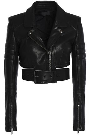HAIDER ACKERMANN Cropped cutout leather biker jacket