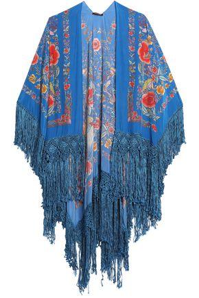 ROBERTO CAVALLI Fringe-trimmed floral-print silk wrap
