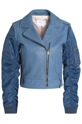 SANDRO Paris Ruched shell-paneled leather biker jacket