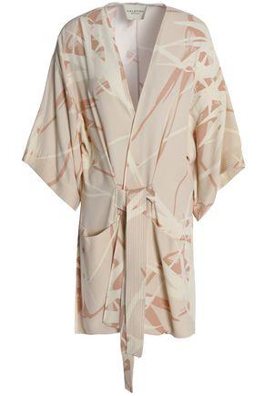 HALSTON HERITAGE Belted printed crepe jacket