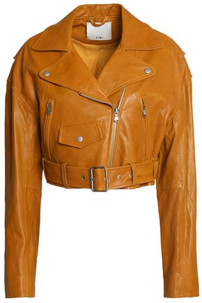 TIBI Cropped leather biker jacket