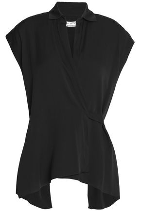 HALSTON HERITAGE Silk-blend crepe wrap top