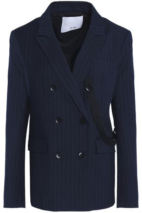 TIBI Double-breasted pinstriped wool-blend blazer