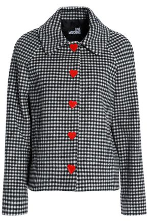 LOVE MOSCHINO Embellished gingham wool-blend jacket