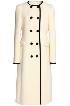 ALTUZARRA Double-breasted velvet-trimmed wool coat