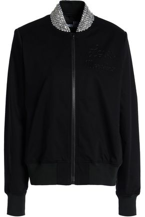 LOVE MOSCHINO Embellished cotton-blend bomber jacket