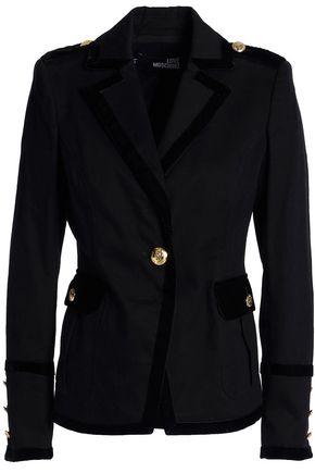 LOVE MOSCHINO Velvet-trimmed cotton-blend garbardine blazer