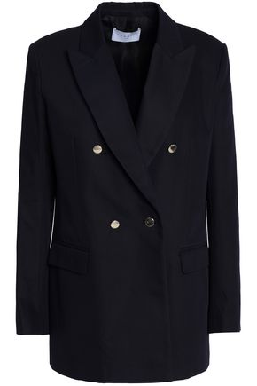 SANDRO Double-breasted cotton-gabardine blazer