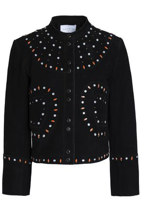 SANDRO Studded suede jacket