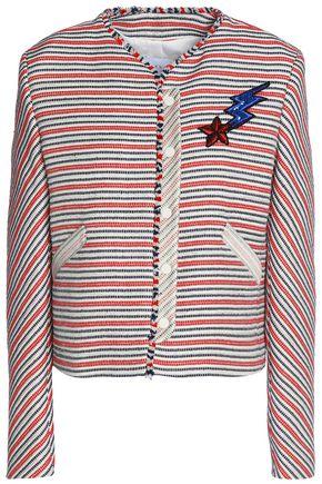 SANDRO Paris Appliquéd striped cotton-blend jacquard jacket