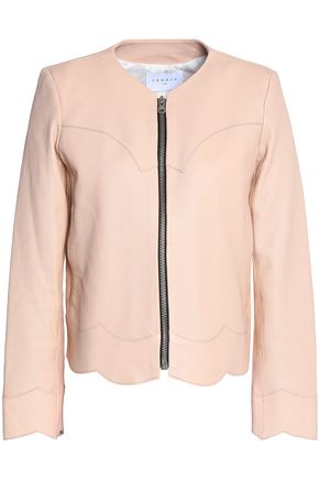 SANDRO Evissa scalloped leather jacket