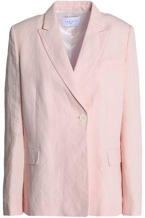 SANDRO Paris Asymmetric crinkled-voile blazer