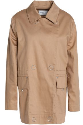SANDRO Double-breasted cotton-gabardine jacket