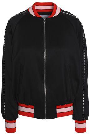 SANDRO Paris Striped crepe de chine bomber jacket