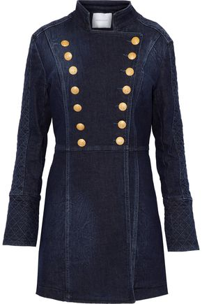 PIERRE BALMAIN Double-breasted quilted denim jacket