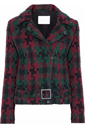PIERRE BALMAIN Wool-blend jacquard biker jacket