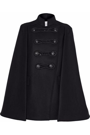 Double Breasted Embellished Wool Felt Cape by Pierre Balmain