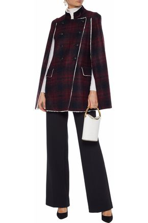 e4fdf32633 PIERRE BALMAIN Double-breasted faux shearling-trimmed checked felt cape