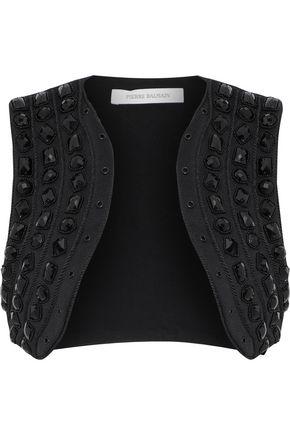 PIERRE BALMAIN Cropped embellished cady vest
