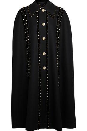 ALTUZARRA Bead-embellished velvet-trimmed wool-blend felt cape