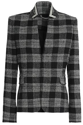 ALICE + OLIVIA JEANS Harris appliquéd checked bouclé-tweed blazer