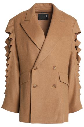 R13 Double-breasted cutout wool-blend coat