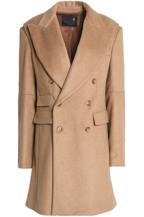R13 Double-breasted camel-blend coat