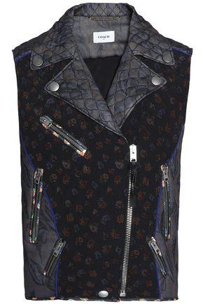 COACH Floral-print silk-chiffon biker vest