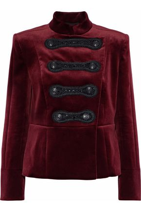 PIERRE BALMAIN Double-breasted embellished cotton-blend velvet jacket