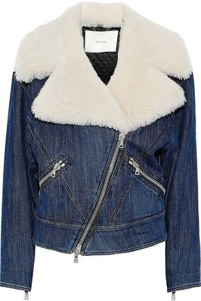 ADAM LIPPES Shearling-trimmed denim biker jacket-paneled denim jacket