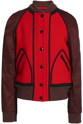 COACH Two-tone twill-paneled wool-felt bomber jacket