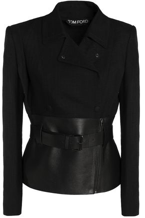 TOM FORD Leather-paneled woven jacket
