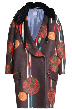 STELLA JEAN Double-breasted printed felt coat