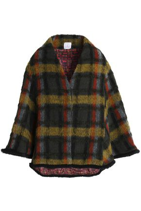 STELLA JEAN Checked brushed wool-blend cape